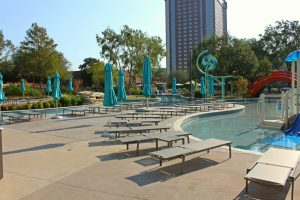 Hilton Anatole Jade Waterpark Pool Deck Installed by Texas Bomanite with Bomanite Sandscape Texture, Sandscape Refined and Shifting Sand Imprinted Concrete