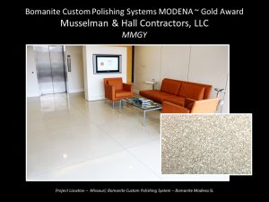 Musselman and Hall pulled out all the stops with replacing a cork floor with a beautiful Bomanite Modena Polished Concrete Office Floor