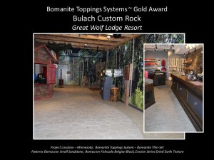 Bulach Custom Rock used multi Bomacron imprinted concrete for the Great Wolf Lodge Minnesota