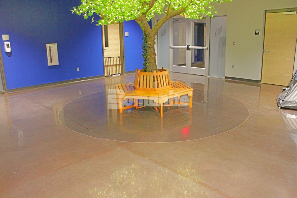 Hope Fellowship Church Brings Color to it's Ministries with Bomanite Custom Polishing Patene Teres Interior Floors and Auditorium Seating