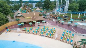 "Canobie Lake Park, Castaway Island Expansion by Harrington Bomanite installation of the Walkway and Plaza Stamped with Bomacron 11.5"" Boardwalk Pattern and Regular Slate Textured Decorative Concrete"