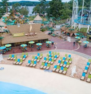 Canobie Lake Park, Castaway Island Expansion by Harrington Bomanite, plazas, decking, waterways,stamped with multiple Bomacron Patterns to give that real tiki inspired resort feel.