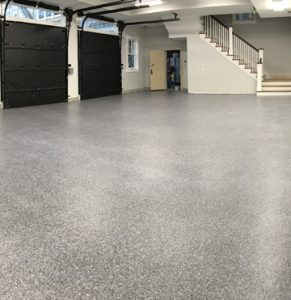 Bomanite Broadcast Flake System Used for this Grand Estate Garage