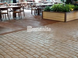 Gaylord Rockies Resort and Convention Center builds rustic coloradan environment with Bomanite Imprint Systems of Stamped Slate and Stamped Brick patterns for interior Grand Lodge Restaurants and Walkways