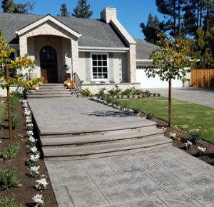 Interior Designer Lisa Davis worked with Heritage Bomanite for the Bomacron English Sidewalk Imprinted Concrete Driveway, Walkway and patio installations in Fresno, CA for this homeowners exterior hardscape plan