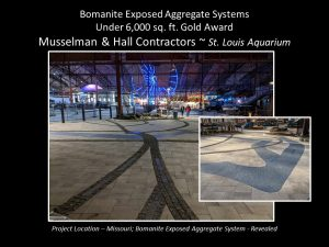 St. Louis Aquarium designs an Expsoed Aggregate River for their Conservation and Education Center installed by Musselman and Hall Contractrors
