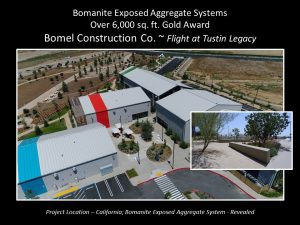 Bomel Construction Co located in Irvine, CA installed concrete and paving hardscapes of Bomanite Exposed Aggregate for the historical Flight at Tustin Legacy