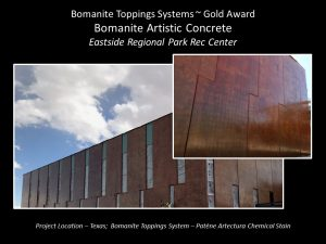 Eastside Regional Park Recreational Center builds with Bomanite Patene Artectura Chenical Stain a Concrete Coloring agent for a vertical application installed by Bomanite Artistic Concrete located in El Paso, TX
