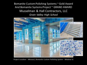 Grain Valley High School Renovation of their flooring with Bomanite Custom Polishing System Modena SL using blue glass aggregates installed by Musselman and Hall Contractors located in Kansas City, MO