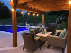 Concrete Arts, Inc. had the opportunity to create a stunning transformation for the homeowners backyard renovation with the Bomanite Revealed Exposed Aggregate System supplying a slip-resistant, durable pool deck that caters to daytime relaxation and upscale evening gatherings