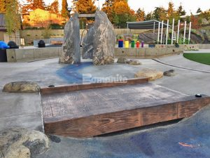 Downtown Bellevue Park Designs Inspiration Playground using Bomanite Decorative Concrete from Belarde Company, Washington forming a Concrete Bridge for the Splash Pad