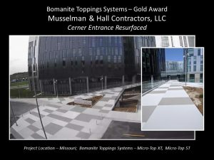 Musselman and Hall Kansas City MO installed an alternation pattern of Bomanite Micro-Top XT and Bomanite Micro-Top ST in two different Gray Patterns for the Kansas City Cerner Campus earning them a Gold Award at the Bomanite Decorative Concrete Annual Awards Program