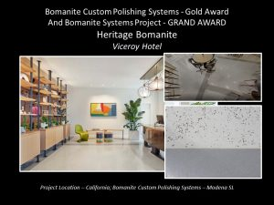 Heritage Bomanite Fresno CA installed a custom Bomanite Modena SL polished concrete floor with Brass Terrazzo Strips for the High-End Viceroy Hotel Santa Monica CA earning them a Gold Award at the Bomanite Decorative Concrete Annual Awards Program