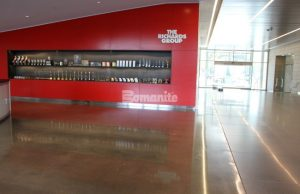 Texas Bomanite, Dallas TX, installed the Bomanite Custom Polishing VitraFlor System for The Richards Group new office building lobby floor with a salt and pepper aggregate exposure finish.