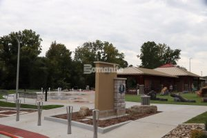 Musselman & Hall Contractors, LLC finished the work needed on the Community Park in Jefferson City, Mo with colorful concrete using the Bomanite Sandscape Texture Exposed Aggregate System with Bomanite Con-Color for a fun splash pad for everyone to enjoy.