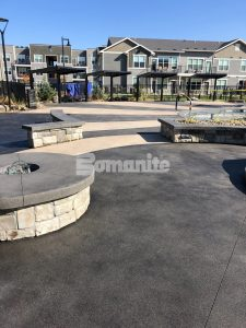 Bomanite licensee Architectural Concrete & Design installed the pool deck area at Icon Apartment Homes at Ferguson Farms in Bozeman, MT, using Bomanite Exposed Aggregate Systems featuring contrasting bands of Bomanite Sandscape Texture and Bomanite Revealed.