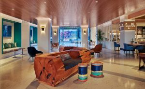 Viceroy Santa Monica located in Santa Monica, CA, completes their renovation featuring decorative concrete custom flooring with Bomanite Custom Polishing Systems using Bomanite Modena SL installed by Heritage Bomanite.